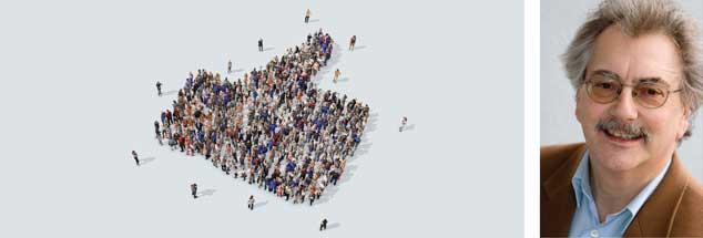 Der berühmte Facebook-Daumen (links) beruht auf den vielen »Likes« der Facebook-User. Je mehr nun facebook davonlaufen, desto klarer wird: Immer weniger sind damit einverstanden, was Facebook mit den gesammelten Daten macht. Wolfgang Kessler (rechts) fordert: »Enteignet facebook!« (Fotos: privat; istockphoto/mattjeacock)