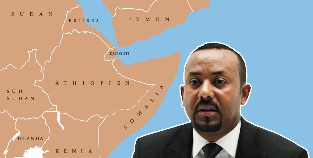 Auf Kriegskurs? Aby Ahmed ist Premier von Äthiopien, einer bedeutenden Regionalmacht am Horn von Afrika.(Fotos: Istockphoto / PeterHermesFurian; pa / Reuters/ Negeri)