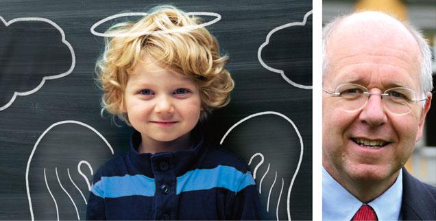 """Brauchen Kinder Religion? """"Ja!"""", sagt Volker Ladenthin (rechts). (Fotos: istockphoto/Rouzes; privat)"""