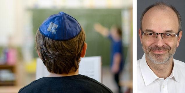 Jüdischer Schüler mit Kippa: Um Antisemitismus und Islamfeindlichkeit an Schulen abzubauen, muss man die Jugendlichen emotional ansprechen, meint Hamza Wördemann, Geschäftsführer des Vereins »JuMu«, in dem sich Juden und Muslime engagieren (Fotos: pa/dpa/Daniel Bockwoldt; privat)