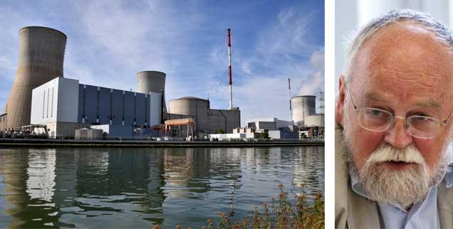 Das belgische AtomkraftwerkTihange: Dort und im Kraftwerk Doel wurden Tausende Risse im inneren Stahlbehälter festgestellt. Physiker Sebastian Pflugbeil fordert, beide Kraftwerke sofort und für immer abzuschalten  (Fotos: pa/Galuschka; Xanthe Hall/ippnw)