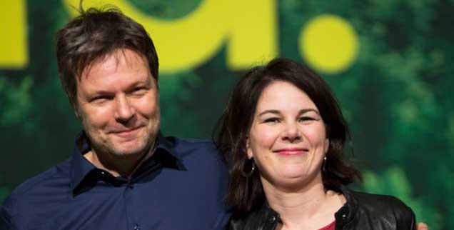 Robert Habeck, Annalena Baerbock: Das neue Spitzenduo von Bündnis 90/Die Grünen besteht aus Realos. Die Wahl ging (fast) ganz ohne Flügelkämpfe ab. (Foto: pa/Baumgarten)