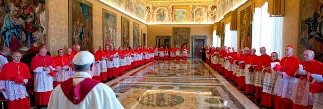 Ein Papst (vorn) hat im Kardinalskollegium (hinten) nicht nur Freunde: Und Franziskus - hier zu sehen bei einer Versammlung im Vatikan - schon gar nicht. (Foto: pa/AP Photo/L'Osservatore Romano)