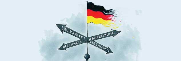 Solidarität und Offenheit oder Abgrenzung und Eigennutz?: In welche Richtung entwickelt sich unsere Demokratie? (Zeichnung: Mester)