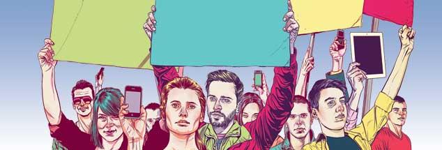 Gelebte Demokratie: Bürger bewegen die Politik, Parteien werden unterscheidbar, Konflikte am Runden Tisch bearbeitet (Illustration: Mart Klein/Alamy Stock Photo)