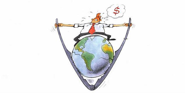 Der Kapitalismus hat die Welt im Griff. Aber geht es auch anders? (Zeichnung: Mester)
