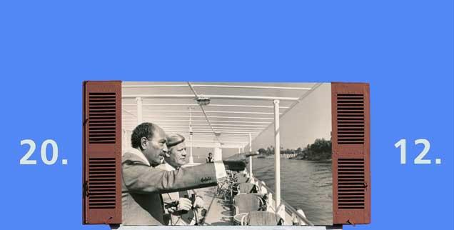 Sadat und Schmidt auf der denkwürdigen Nilkreuzfahrt 1977: Am Tag Augen für die Schönheit Ägyptens, des Nachts Ohren für Religion und Friedenspolitik. (Foto: Helmut Schmidt Archiv)