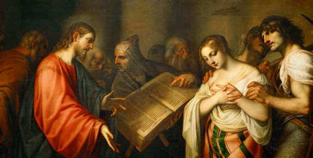 Jesus verurteilte die Ehebrecherin nicht, als sie vor ihm stand: Gemälde von Alessandro Varotari, genannt Il Padovanino (1588-1648) (Foto: akg-images/Erich Lessing)