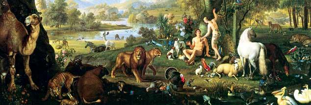 Im Paradies sind Adam und Eva Geschöpfe unter anderen und nicht Krone der Schöpfung. Ein Bild des Malers  Johann Wenzel Peter (Vatikanische Museen)