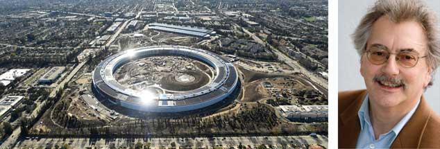 Der Apple-Campus in Kalifornien: »Während Apple die Steuergesetze von Regierungen gerne umgeht, hat der Konzern keine Probleme, sich Zensur-Gesetzen bestimmter Staaten zu unterwerfen, wenn es dem Unternehmenserfolg dient«, sagt Wolfgang Kessler (rechts). (Fotos: pa/Reuters/Berger; privat)