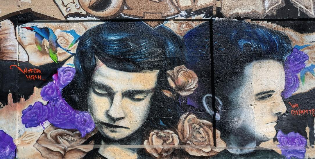 Sophie und Hans Scholl: Graffito auf dem Schlachthofgelände in München