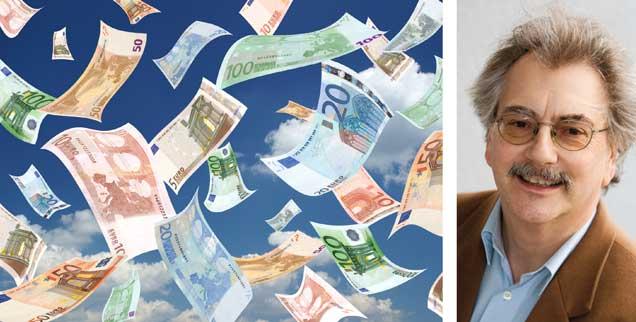 Geld im Überfluss? Das gibt es, ein Teil der Bevölkerung in Deutschland hat ein Vermögen von 5200 Milliarden Euro angehäuft, während ein weiterer großer Teil hingegen Schulden hat. Doch das viele Geld ist ein Problem, auch für die, die es haben. Und die Frage ist, wie können auch diejenigen davon profitieren, die wenig besitzen? (Foto: thinkstock/gettyimages/Artem Samokhvalov)
