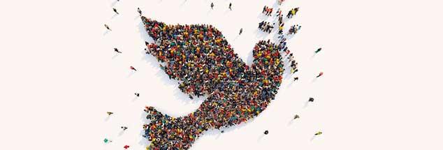 Die Taube, das Zeichen des Friedens, des Endes aller Katastrophen: Gemacht werden kann der Friede nur von Menschen. (Foto: Federico Caputo/Alamy Stock Photo)