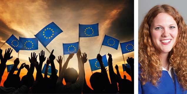 »Europa hat das Gesicht von Ömer aus der Türkei, es ist die Umarmung von Marta aus Polen und das Lachen von Luis aus Spanien«: So sieht es aus im Traum von Elisa Rheinheimer-Chabbi (rechts). (Fotos: PHOTOMORPHIC PTE. LTD./ 123rf.com; privat)