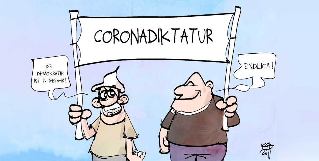 Manche sind ernsthaft um die Demokratie besorgt. Andere freuen sich, wenn sie in der Krise ist. (Zeichnung: PA/Die Kleinert/Kostas Koufogiorgos)