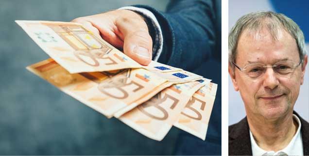 Christoph Butterwegge (rechts) ist gegen das bedingungslose Grundeinkommen: »Es ist sozial kaschierter Neoliberalismus, schafft ein Paradies für Unternehmer, trägt aber nichts zu sozialer Gerechtigkeit bei.« (Foto: iStock by getty/stevanovicigor; pa/dpa/Bernd von Jutrczenka)