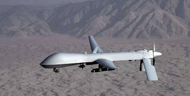US-Drohne im Anflug: Aufklärungsflüge über dem Iran laufen nicht ohne Beteiligung der US-Air-Base Ramstein. Hier ist eine Relaisstation, die die Daten der Drohnen empfängt. (Foto: pa)