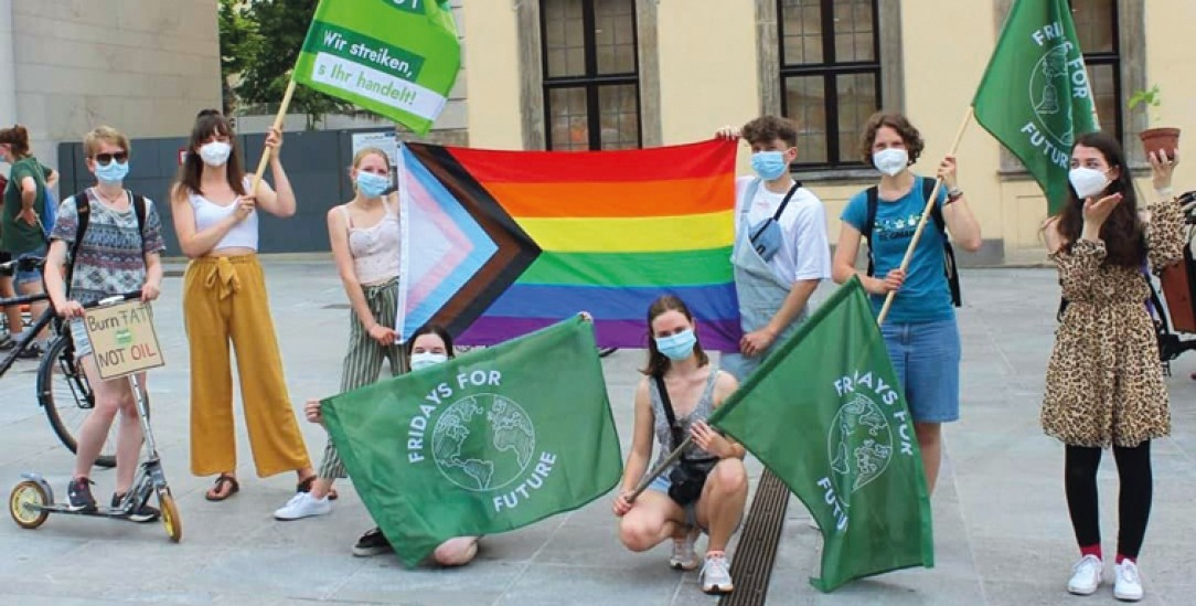 Fürs Klima und für Gerechtigkeit: Fridays-for-Future-Demo in Fulda für die Verkehrswende – mit Regenbogenfahne. (Foto: Fridays for Future Fulda)