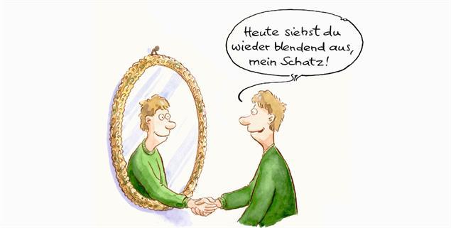 Wenn der Blick in den Spiegel so richtig gut tut (Zeichnung: Mayr)