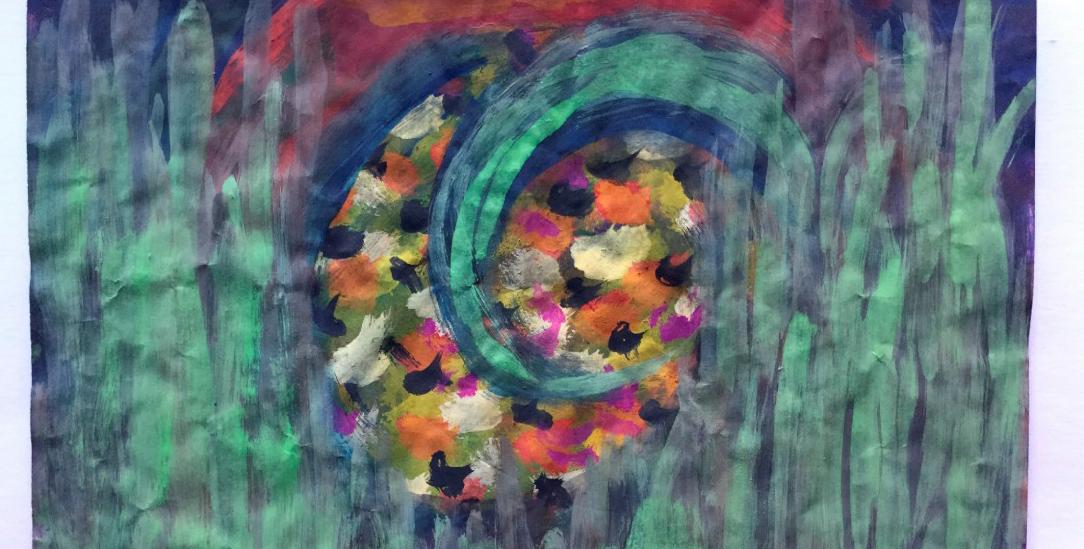 Ausschnitt von »Die Amseln«. Gemalt von Martina Gehlhaar (Foto: Gehlhaar)