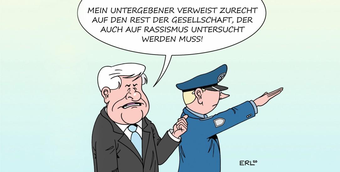 Seehofer und das Rassismusproblem (Zeichnung: PA/DIE KLEINERT/Martin Erl