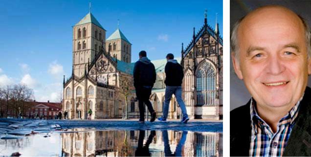 Der Dom zu Münster, Theologe Norbert Mette: Tut der für Mai geplante Katholikentag in der Stadt gut daran, einen bereits eingeladenen AfD-Politiker wieder auszuladen? Mette ist einer von zahlreichen Theologen, die meinen: Ja! Kein Podium für AfD-Positionen! (Fotos: pa/Kappeler; privat)
