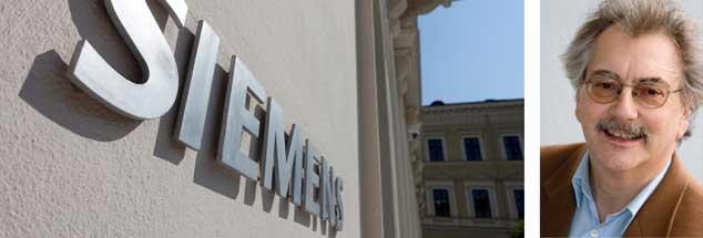 """""""Es gibt Alternativen zu Massenentlassungen bei Siemens"""", sagt Publik-Forum-Chefredakteur Wolfgang Kessler (rechts). (Fotos: pa/Kalker; privat)"""