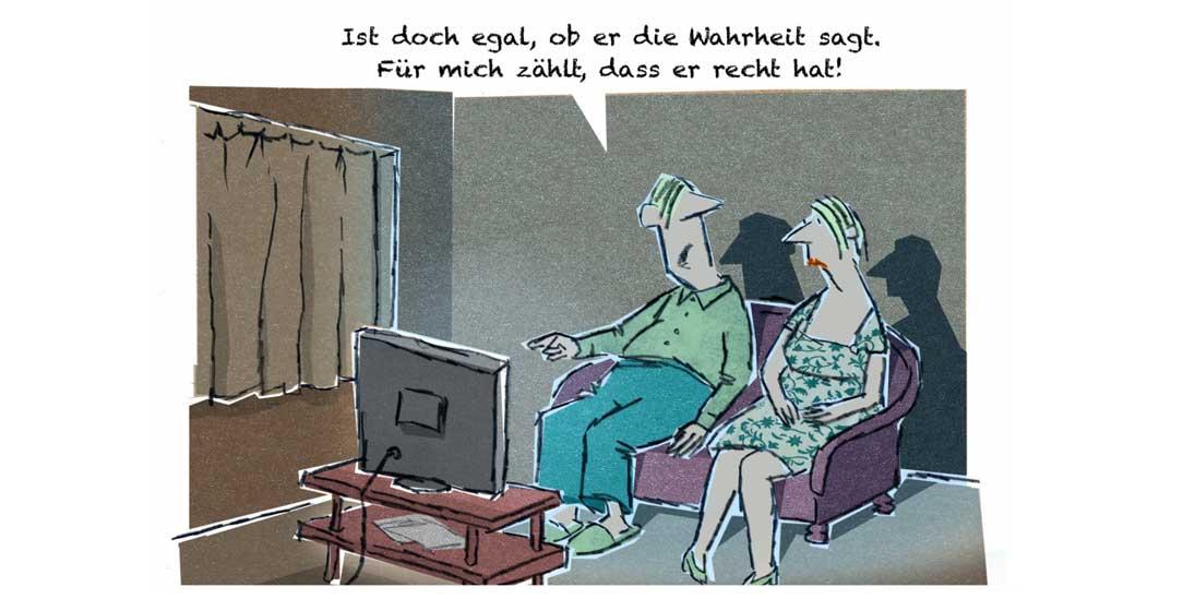 Wahr sein oder recht haben? (Zeichnung: PA/Die Kleinert/Jan Rieckhoff)