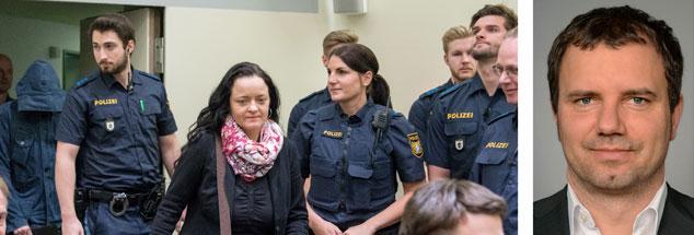 Angeklagte Beate Zschäpe (links) im Münchner Gerichtssaal, Opferanwalt Peer Stolle (rechts) im Interview: »Nach dem Prozess ist vor dem Prozess.« (Fotos: pa/dpaPeter Kneffel; dka-kanzlei.de)