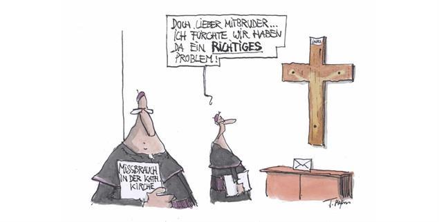 Wenn Jesus nicht mehr mitmacht ob des Missbrauchsskandals: »Wir haben da ein richtiges Problem« (Zeichnung: Thomas Plassmann)
