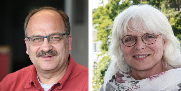 Alexander Schwabe und Eva-Maria Lerch streiten über die Wahl eines AfD-Bundestagsvizepräsidenten (Fotos: Publik-Forum; privat)