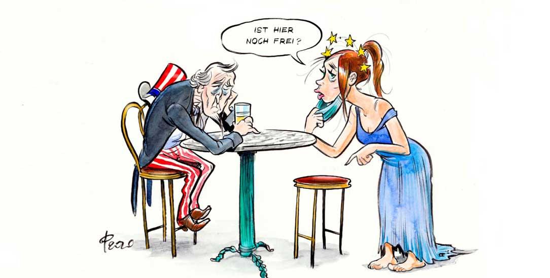 Angespanntes Verhältnis: USA und Europa (Zeichnung: PA/Die Kleinert/Paolo Calleri)