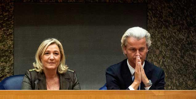 Marine Le Pen, Chefin des rechtsextremen Front National, und der holländische Islamfeind Geert Wilders wollen eine rechte Allianz in Europa (Foto: pa/Kuypers)