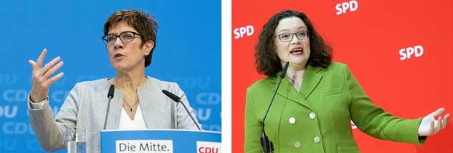 Die Parteichefinnen steuern vorsichtig um - und ihre in der Koalition verbundenen Parteien voneinander weg: Die CDU-Vorsitzende Annegret Kramp-Karrenbauer (links) setzt auf noch mehr Härte in der Flüchtlingspolitik, SPD-Vorsitzende Andrea Nahles will eine Reform des Sozialstaates. (Fotos: pa/Contini; pa/Kumm)