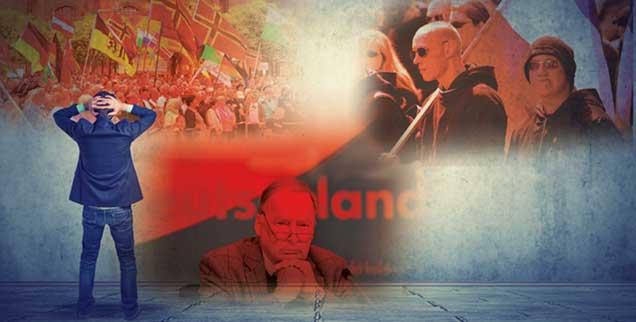 Radikal. rechts, gern populistisch: Neue - und alte - Bewegungen spielen derzeit machtvoll mit der Angst vor dem Fremden. (Fotos: pathdoc/Fotolia; pa/Kahnert; pa/Baumgarten; pa/Huirschberger)