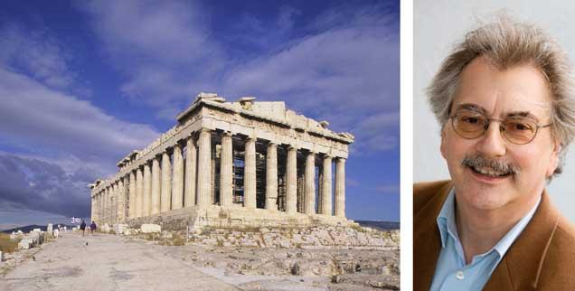 Die Akropolis, Wahrzeichen Griechenlands: Das unter Schulden stöhnende Land kann nur durch einen Schuldenschnitt wieder auf die Beine kommen, meint Publik-Forum-Chefredakteur Wolfgang Kessler (rechts). (Foto: pa/AGF Creative/Wojtek Buss)