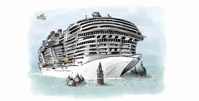 Vor uns die Sintflut: Venedig ist Weltkulturerbe – und Symbol für viele bedrohte Orte(Zeichnung: Stuttmann)