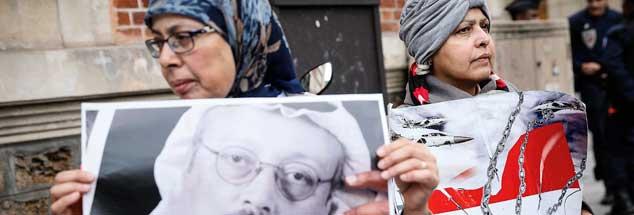 Vor der saudischen Botschaft in Paris: Frauen demonstrieren Ende Oktober 2018 für Menschenrechte - und erinnern an das Schicksal Jamal Khashoggis. (Foto: pa/Padilla)