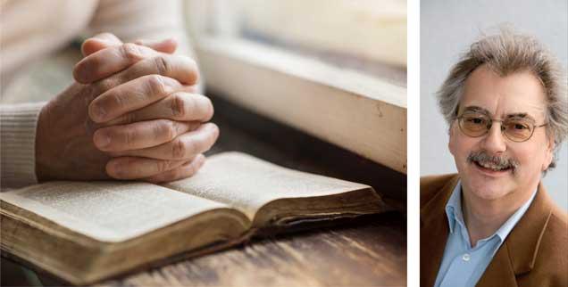 Ist verrückt, wer betet? Wohl kaum, findet Wolfgang Kessler (rechts). (Fotos: istockphoto/Halfpoint; privat)