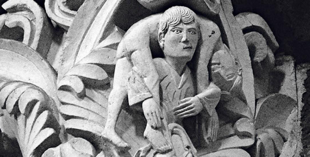 Jesus trägt Judas: Ungewöhnliches Motiv an der Kathedrale Sainte Marie-Madeleine in Vézelay/Burgund (Foto:Wikipedia)