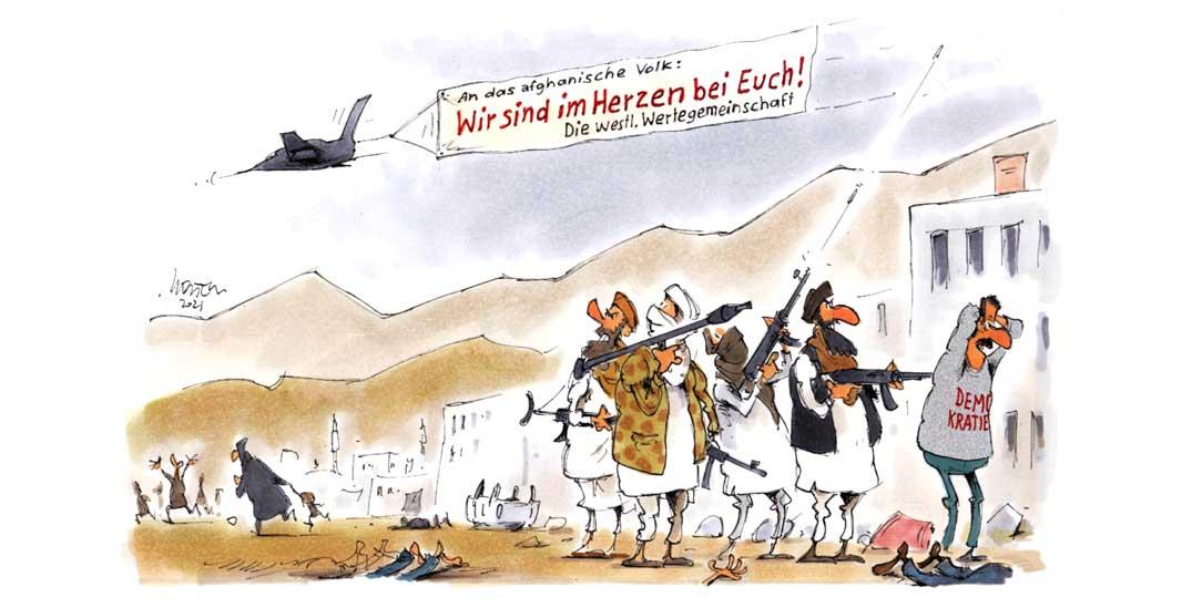Der Westen tritt an für Menschenrechte und Menschenwürde – und zerstört sie im selben Atemzug. Zeichnung: Mester)