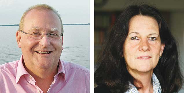 """Frauenquote in Chefetagen? Martin Rosowski (links) sagt: """"Ja!"""" Bettina Röder (rechts) sagt: """"Nein!"""""""