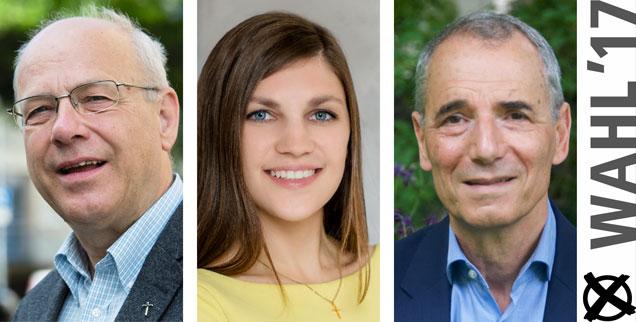 Klaus Mertes, Jacqueline Straub, Michael Wolffsohn: Wem geben sie ihre Stimme bei der Bundestagswahl 2017? (Fotos: pa/dpa/Julian Stratenschulte; Meli Straub/www.meli-photodesign.de; pa/dpa/Susanne Jahrreiss)