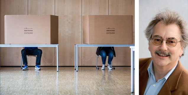 Wählen, aber wie? Für immer mehr Menschen bleibt die Wahlkabine dunkel; sie wählen gar nicht. Die Folge: Rechtspopulisten gewinnen gewaltig, wie jetzt bei den Kommunalwahlen in Hessen. Wolfgang Kessler ärgert sich über gelangweilte Bürger.  (Fotos: pa/dpa/Frank Rumpenhorst; Publik-Forum)