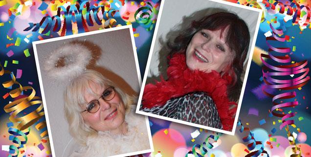 Autorin Eva-Maria Lerch im Karneval: Mal ein Engel, mal Femme fatale (Grafik:iStock by Getty/REIMUSS; Fotos: privat)