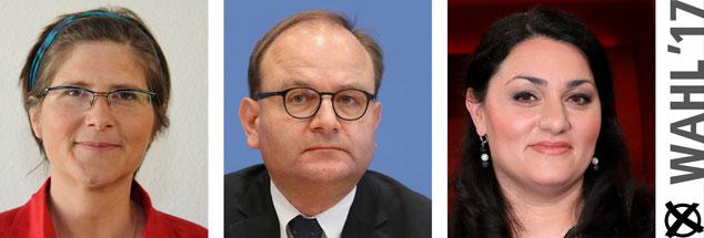 Jutta Sundermann, Ottmar Edenhofer, Lamya Kaddor: Wem geben sie morgen ihre Stimme? (Fotos: pa/dpa/Horst Galuschka; pa/dpa/Wolfgang Kumm; pa/ Eventpress Stauffenberg)