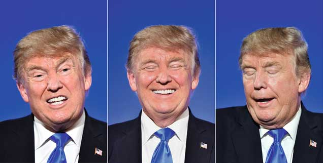 Ein Gesicht, viele Botschaften, immer ein Hauch von Wahnsinn: Studien Donald Trumps. (Fotos: pa/Mustafa Yalcin/Anadolu Agency)