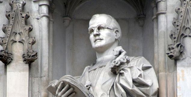 Ikone, auch für Rechte? Bonhoeffer-Statue an der Westminster Abbey, London (Foto: Peter Horree / Alamy Stock Photo)