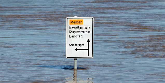 Land unter in Dresden: Als die Elbe im Juni 2013 über die Ufer trat, war das nicht das erste Mal. (Foto: PA/Frank)