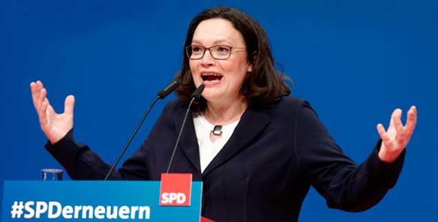 Wie weiter SPD? Weiß es die neue Vorsitzende Andrea Nahles? (Foto: pa/REUTERS/Ralph Orlowski)